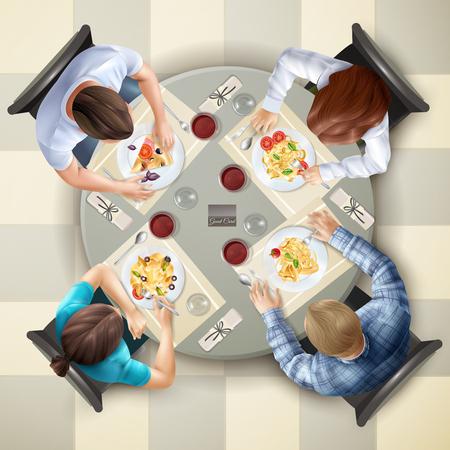 テーブルの上でイタリア料理を食べて 4 文字現実的なベクトル図が表示されます。  イラスト・ベクター素材