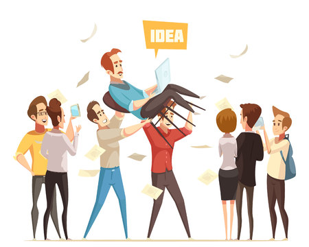 Crowdfunding flat design concept with happy cartoon characters celebrating successful financing of business idea vector illustration