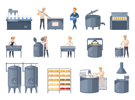 Dairy production set of cartoon icons with milk processing, cheese making, workers of factory isolated vector illustration Stock Illustratie