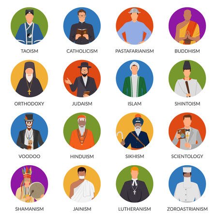 Set of flat avatars of people from world religions including shinto, christianity, voodoo, judaism isolated vector illustration Stock Vector - 87747596