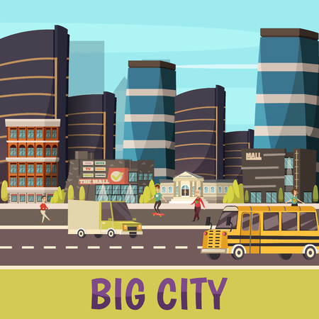 Big city orthogonal background with skyscrapers pedestrians and cars riding on  town street flat vector illustration Illustration