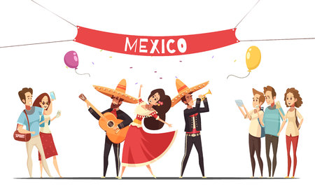 Traditional mexico festival design concept with musicians in native costumes and audience with camera flat vector illustration Illustration