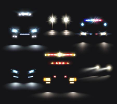 De auto steekt reeks realistische koplamp en lichte barbeelden en samenstellingen van de vectorillustratie van autosilhouetten aan Stock Illustratie