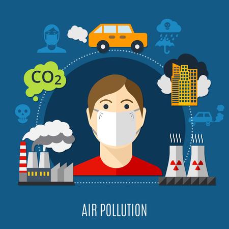 Concepto de contaminación del aire con ilustración de vector plano símbolos fábrica y dióxido de carbono