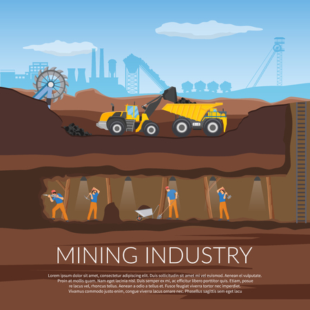 Miners with tools under ground flat composition with industrial equipment on background of plant silhouette vector illustration