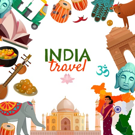 India travel frame with indian traditional architecture cuisine musical instruments and other symbols on white background cartoon vector illustration Illustration