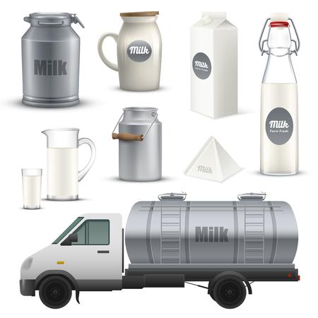 Productmelk in metaal, glas en kartoncontainer realistische reeks met inbegrip van vrachtwagen met tank geïsoleerde vectorillustratie