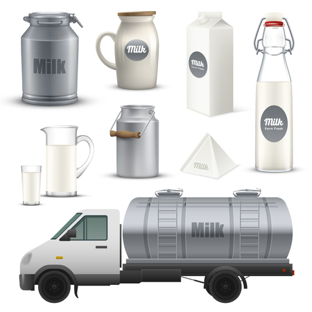 Product milk in metallic, glass and cardboard container realistic set including truck with tank isolated vector illustration Illustration