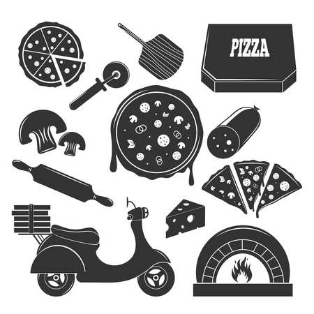 Pizza vintage elements set of flat isolated motorbike pizza slices with filler and flatware monochrome images vector illustration