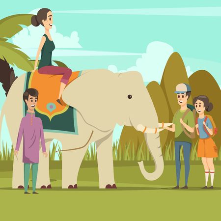 Colorful background with smiling young indian woman riding on elephant native boy and tourists flat vector illustration