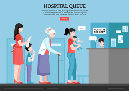 Hospital queue with people room and registry service flat vector illustration