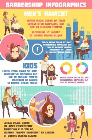男性女性と子供散髪理髪店インフォ グラフィック セット記号フラット ベクトル図  イラスト・ベクター素材
