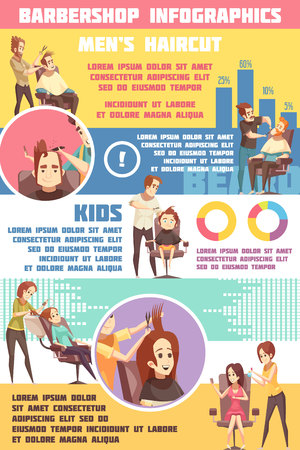 Barbershop infographic set with men lady and kids haircut symbols flat vector illustration