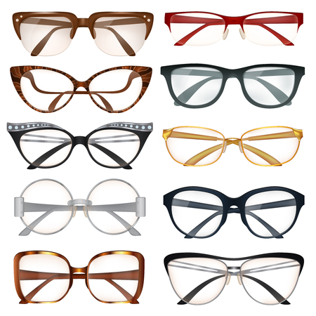 Modern male and female eyeglasses with various frames realistic set isolated on white background vector illustration
