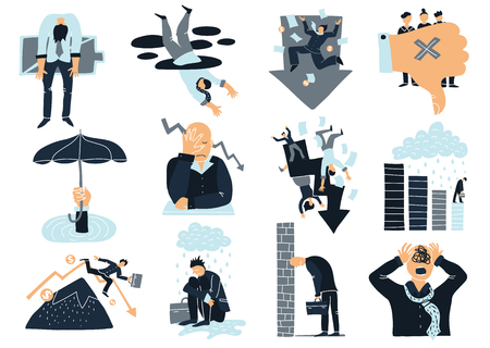 Business failure flat icons collection with thumb down falling from mountain drowning and decrease symbols isolated vector illustration Stock Vector - 87747352