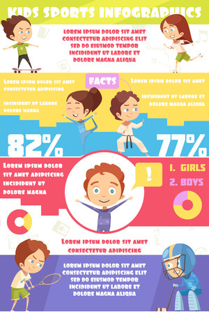 Kids sport infographics template with employment statistics for girls and boys in various sports flat vector illustration
