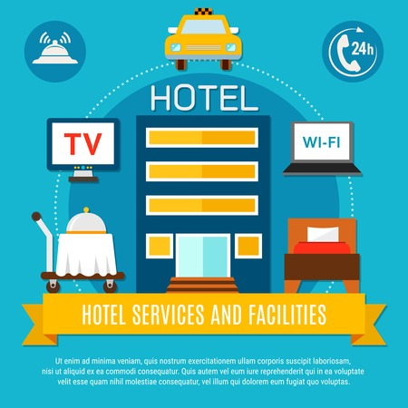 Hotel services and facilities vector illustration with abstract modern hotel building and amenities icons 向量圖像