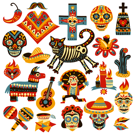 Set of mexican holiday symbols of day of dead including skulls, sombrero, music instruments isolated vector illustration