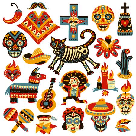 Zestaw symboli meksykańskich wakacji dnia zmarłych, w tym czaszki, sombrero, instrumenty muzyczne na białym tle ilustracji wektorowych