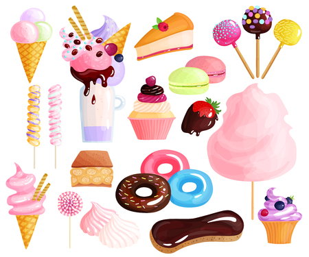 Sweets desserts trendy confection colorful icons collection with donuts eclairs cakes lollies macarons cupcakes isolated vector illustration