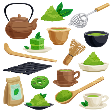 Die japanischen traditionellen Teezeremonieikonen, die einschließlich grüne Matcha-Pulverwerkzeuge eingestellt werden, wischen Schüssellöffel-Teekannen-Vektorillustration