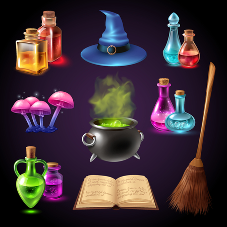 Halloween realistic set with various objects for witches isolated on black background vector illustration Illustration