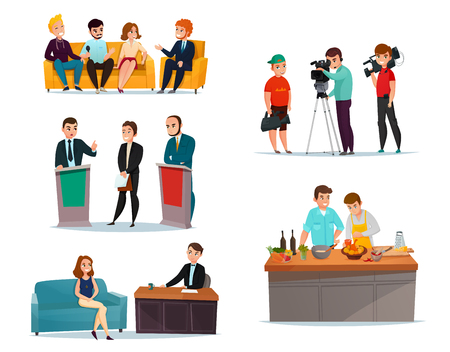 Cartoon set with participants in various talk show isolated on white background vector illustration
