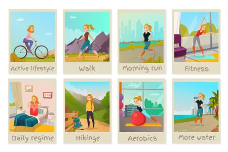 Las tarjetas de estilo de vida saludable con hembra joven haciendo presentando buenos hábitos aislado vector illustration