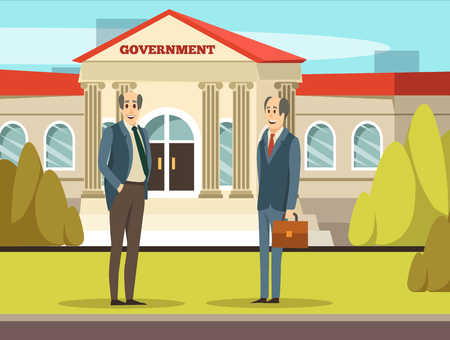 Colored orthogonal municipal buildings composition government with two smiling employers in suits vector illustration
