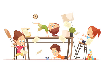 Kids yoga design concept with group of funny cute children playing in games room flat vector illustration Illustration