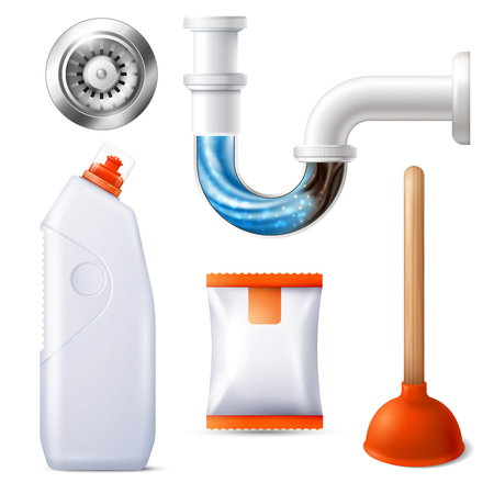Colored isolated realistic drain cleaner icon set with vantuz and pipe cleaner vector illustration Vettoriali