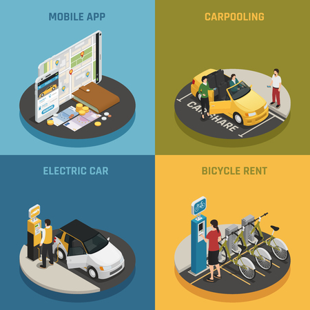 Carsharing design concept with mobile app icons isometric vector illustration.