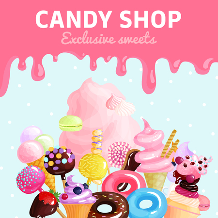 Colored cartoon sweets, candy shop poster with exclusive sweets headline and a lot of cream vector illustration