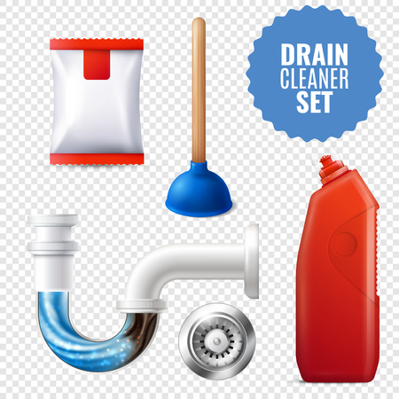 3D style drain cleaner, transparent icon set with equipment and attributes for clean pipes vector illustration