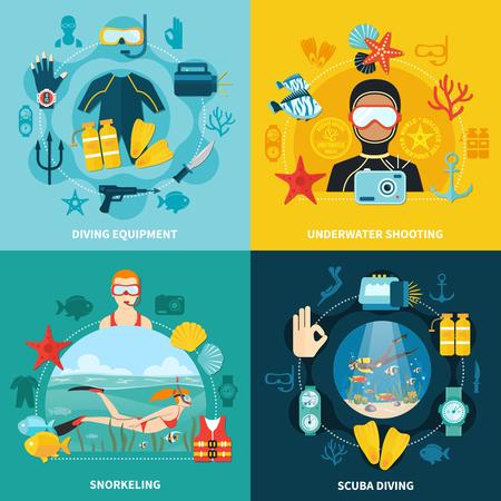 Concetto di design subacqueo con attrezzature. Archivio Fotografico - 87892702