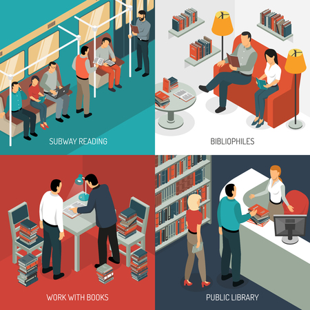 Isometric book reading design concept with various situations in public transport, library and domestic scenery, vector illustration Ilustração