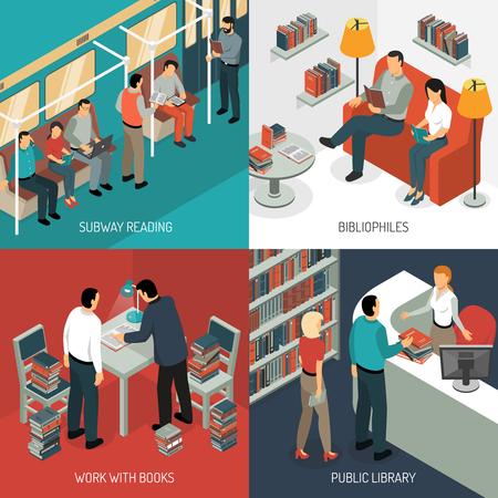 Isometrisch het ontwerpconcept van de boeklezing met diverse situaties in openbaar vervoer, bibliotheek en binnenlands landschap, vectorillustratie