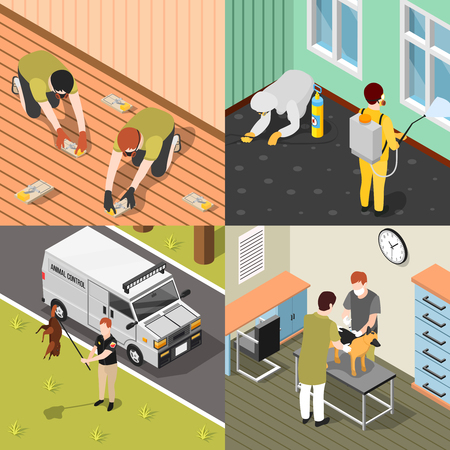 Pest control isometric design concept with house disinfection.