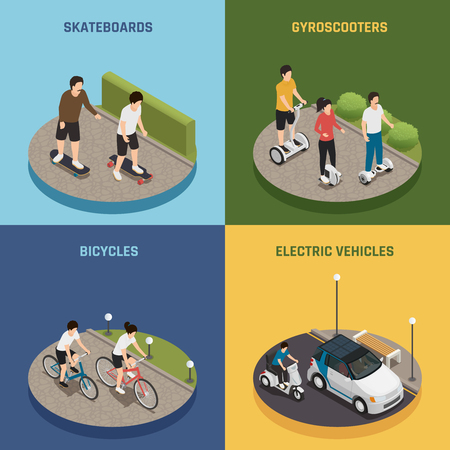 Personal eco transportation design concept set with people.