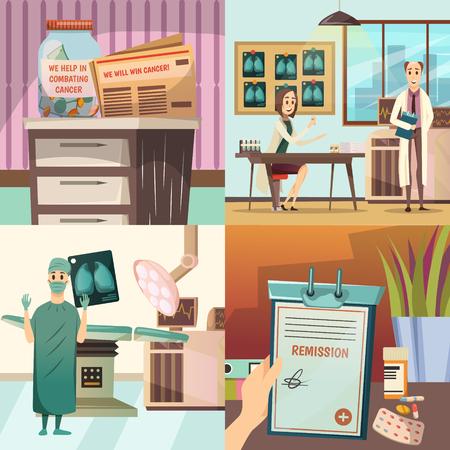 Versla concept van kanker het medische pictogrammen met oncologische chirurgie werkende lijst, lichten en laboratorium vectorillustratie