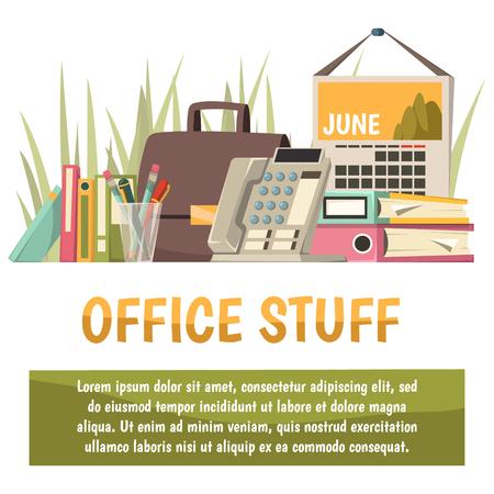 사무실, 사무실 물건 헤드 라인 및 텍스트 벡터 일러스트 레이 션을위한 장소와 평면 직교 배경