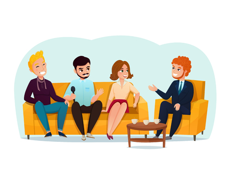 Three smiling talk show participants sitting on yellow sofa cartoon vector illustration