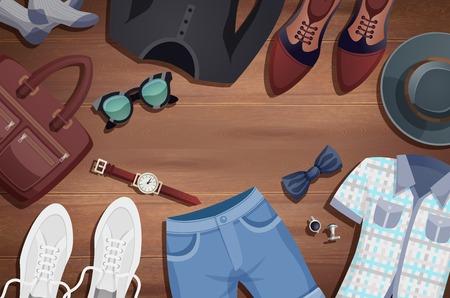 色付きの男性アクセサリー イラスト背景服やアクセサリー木の床のベクトル図のレイアウト