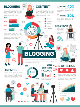 Bloggers people flat infographics with isolated images of people with laptops cameras colourful graphs and pictograms vector illustration