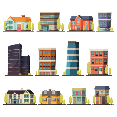 都市タワーおよび村のコテージを含む生きている建物の直交装飾アイコン セット分離平面ベクトル図  イラスト・ベクター素材