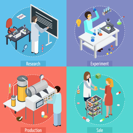 Los iconos isométricos del concepto de la producción farmacéutica 4 ajustan con la fabricación de las pruebas de investigación científica y la venta aislaron la ilustración del vector Ilustración de vector