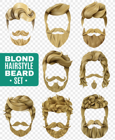 Realistic set of various trendy styles for male blond hair and beard, isolated on transparent background, vector illustration