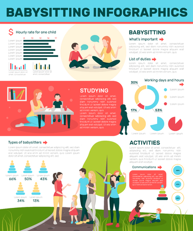 Babysitters, flat infographics with doodle style, human characters, salary, circular graphs and editable text paragraphs, vector illustration Illustration