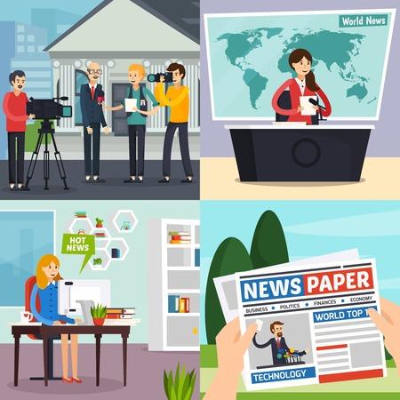 Nieuws, orthogonal ontwerpconcept met inbegrip van verslaggever met interview, TV-studio met programma, blogger, krant, geïsoleerde vectorillustratie