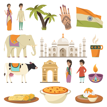 India orthogonal isolated icons set with dishes of national cuisine ethnic symbols historic landmarks flat vector illustration